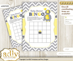 Printable Yellow Grey Elephant Bingo Game Printable Card for Baby Peanut Shower DIY grey, Yellow Grey, Chevron