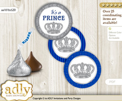 Printable  Boy Crown Candy Kisses for Baby Boy Shower DIY Silver Blue , Royal