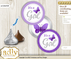 Printable  Girl Butterfly Candy Kisses for Baby Girl Shower DIY Silver , Purple