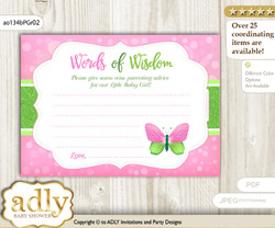 Pink Green Girl Butterfly Words of Wisdom or an Advice Printable Card for Baby Shower, Bokeh