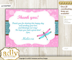 Girl Dragonfly Thank you Printable Card with Name Personalization for Baby Shower or Birthday n