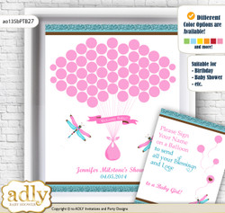 Girl Dragonfly Guest Book Alternative for a Baby Shower, Creative Nursery Wall Art Gift, Pink Teal, Glitter