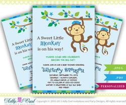 Blue Monkey Baby Shower Invitation card, Cute little monkey boy is on the way card for boy baby shower,blue stars