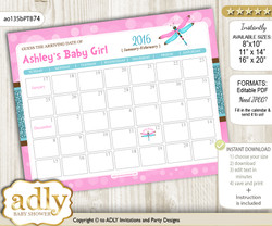 Girl Dragonfly Baby Due Date Calendar, guess baby arrival date game n