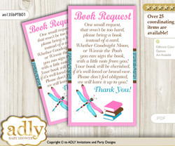 Request a Book Instead of a Card for Girl Dragonfly Baby Shower or Birthday, Printable Book DIY Tickets, Glitter, Pink Teal