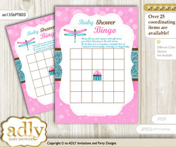 Printable Pink Teal Dragonfly Bingo Game Printable Card for Baby Girl Shower DIY grey, Pink Teal, Glitter