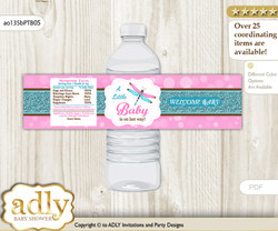 Girl Dragonfly Water Bottle Wrappers, Labels for a Dragonfly  Baby Shower, Pink Teal, Glitter