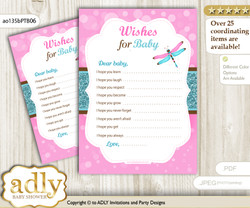 Girl Dragonfly Wishes for a Baby, Well Wishes for a Little Dragonfly Printable Card, Glitter, Pink Teal