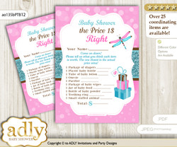 Printable Girl Dragonfly Price is Right Game Card for Baby Dragonfly Shower, Pink Teal, Glitter