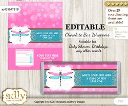 Personalizable Girl Dragonfly Chocolate Bar Candy Wrapper Label for Girl  baby shower, birthday Pink Teal , Glitter