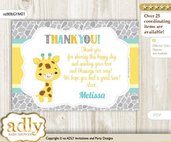 Baby Giraffe Thank you Printable Card with Name Personalization for Baby Shower or Birthday Party