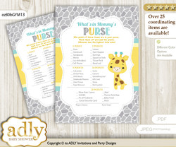 Baby Giraffe What is in Mommy's Purse, Baby Shower Purse Game Printable Card , Yellow Mint,  Neutral