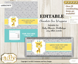 Personalizable Baby Giraffe Chocolate Bar Candy Wrapper Label for Baby  baby shower, birthday Yellow Mint , Neutral
