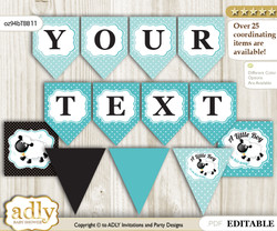 Personalized Boy Lamb Printable Banner for Baby Shower, Turquoise, Polka