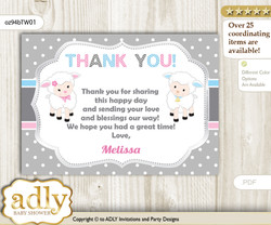 Twins Lamb Thank you Printable Card with Name Personalization for Baby Shower or Birthday Party