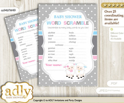 Twins Lamb Word Scramble Game for Baby Shower
