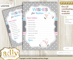 Twins Lamb Wishes for a Baby, Well Wishes for a Little Lamb Printable Card, Polka, Pink Blue