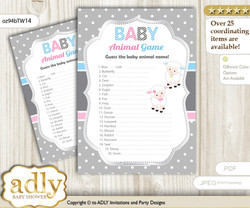 Printable Twins Lamb Baby Animal Game, Guess Names of Baby Animals Printable for Baby Lamb Shower, Pink Blue, Polka
