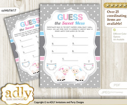Twins Lamb Dirty Diaper Game or Guess Sweet Mess Game for a Baby Shower Pink Blue, Polka