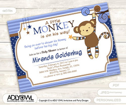 Mister Monkey Boy Invitation for Baby Shower, monkey with stars and polka dot circles, Printable Invite, blue brown yellow