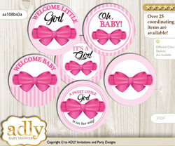 Baby Shower Girl Bow Cupcake Toppers Printable File for Little Girl and Mommy-to-be, favor tags, circle toppers, Baby, Pink