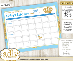 Royal  Baby Due Date Calendar, guess baby arrival date game