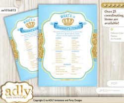 Royal Prince What is in Mommy's Purse, Baby Shower Purse Game Printable Card , Blue Gold,  Crown n