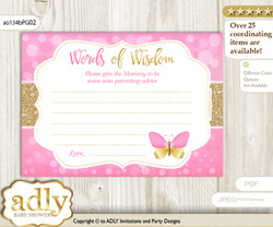 Pink Gold Girl Butterfly Words of Wisdom or an Advice Printable Card for Baby Shower, Bokeh