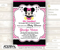 Girl Mouse Invitation, Minni Girl Baby Shower Card for a Pink Black baby shower.Oh, Toodles Invitation with polka dots