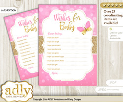 Girl Butterfly Wishes for a Baby, Well Wishes for a Little Butterfly Printable Card, Bokeh, Pink Gold