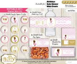 Text Editable African Princess Baby Shower, Birthday DIY digital package, kit-cupcake, goodie bag toppers, water labels, chocolate bar wrappers