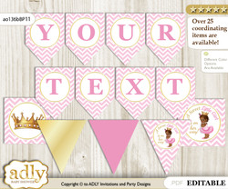 Personalizable African Princess Printable Banner for Baby Shower, Pink Gold, Chevron