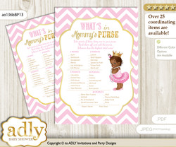 African Princess What is in Mommy's Purse, Baby Shower Purse Game Printable Card , Pink Gold,  Chevron