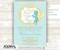 Little Angel Boy Invitation for Boy Baby Shower, teal mint wreath, Turquoise Baptism, Christening Invite, winter
