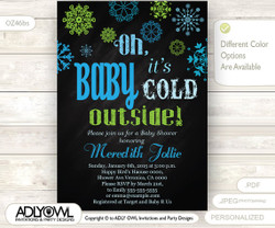 Oh Baby It's Cold Outside Invitation for Boy Baby Shower, baby blue lime green snowflakes, Blue Christmas, Printable Invite, winter