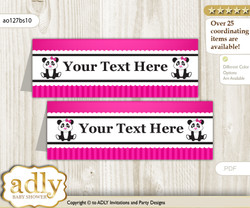 Text Editable Printable Girl Panda Buffet Tags or Food Tent Labels  for a Baby Shower or Birthday , Pink Black, Polka