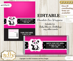 Personalizable Girl Panda Chocolate Bar Candy Wrapper Label for Girl  baby shower, birthday Pink Black , editable wrappers