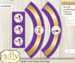 Printable African Princess Cupcake, Muffins Wrappers plus Thank You tags for Baby Shower Purple Gold, Crown