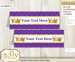 Text Editable Printable African Princess Buffet Tags or Food Tent Labels  for a Baby Shower or Birthday , Purple Gold, Crown