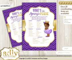 African Princess What is in Mommy's Purse, Baby Shower Purse Game Printable Card , Purple Gold,  Crown