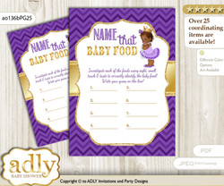 African Princess Guess Baby Food Game or Name That Baby Food Game for a Baby Shower, Purple Gold Crown