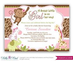 Girl Monkey Jungle Safari Invitation, Jungle Girl Baby Shower Card for a baby shower.Monkey in Jungle,palm, bow,chevron,printable