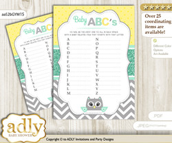 Neutral  Owl Baby ABC's Game, guess Animals Printable Card for Baby Owl Shower DIY – Chevron