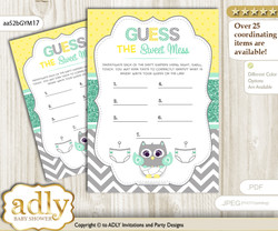 Neutral  Owl Dirty Diaper Game or Guess Sweet Mess Game for a Baby Shower Mint Yellow, Chevron
