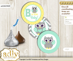 Printable  Neutral  Owl Candy Kisses for Baby Neutral  Shower DIY Mint Yellow , Chevron
