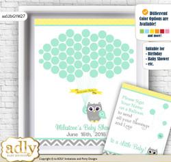 Neutral  Owl Guest Book Alternative for a Baby Shower, Creative Nursery Wall Art Gift, Mint Yellow, Chevron n