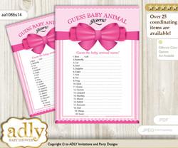 Printable Girl Bow Baby Animal Game, Guess Names of Baby Animals Printable for Baby Bow Shower, Pink, Baby