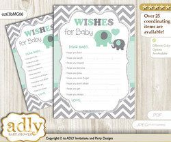 Boy Elephant Wishes for a Baby, Well Wishes for a Little Elephant Printable Card, Chevron, Mint Grey