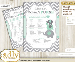 Boy Elephant What is in Mommy's Purse, Baby Shower Purse Game Printable Card , Mint Grey,  Chevron