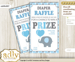 Boy Peanut Diaper Raffle Printable Tickets for Baby Shower, Blue Grey, Polka